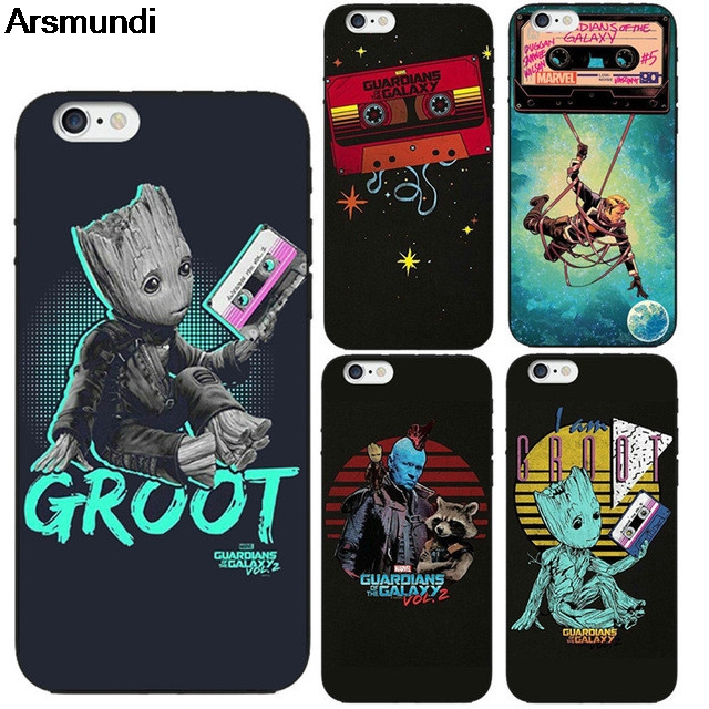 Arsmundi Little Groot Gad Guardians Phone Cases for iPhone 4S 5C SE 5S 6S 7 8 Plus X Case Crystal Clear Soft TPU Cover Cases