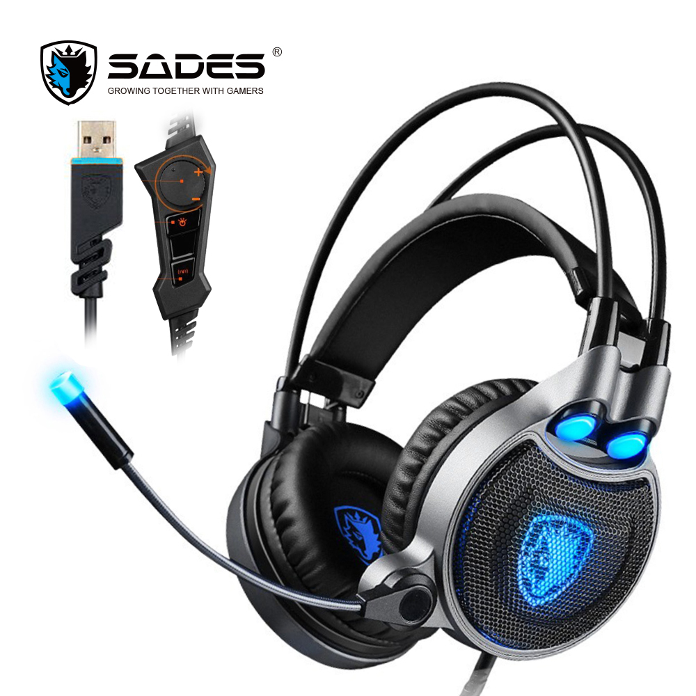 SADES R1 Virtual 7.1 Surround Sound Gaming Headset Over-ear USB Computer Headphones with Vibrating Bass and LED Light xiberia k10 over ear gaming headset usb computer stereo heavy bass game headphones with microphone led light for pc gamer