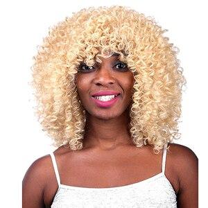 Image 5 - MSIWIGS オンブル黒巻き毛のかつらブラウン合成アフロかつら前髪耐熱赤髪