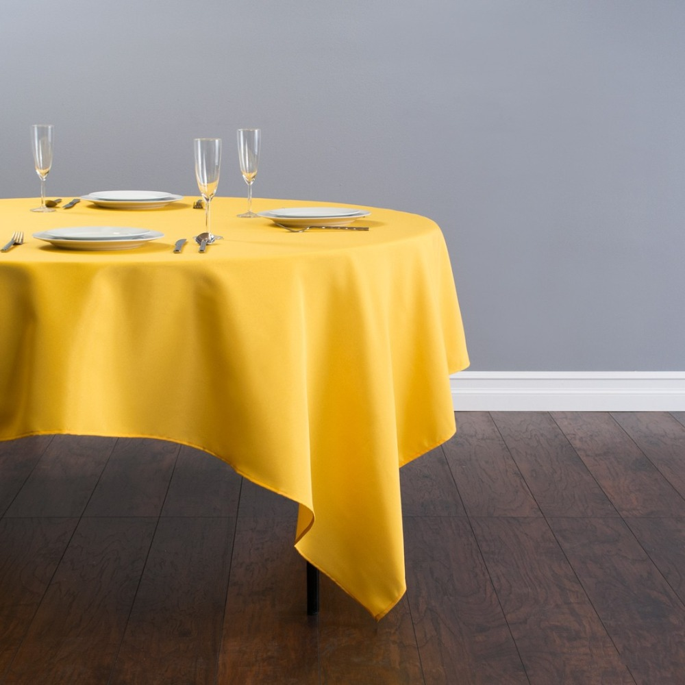 HK DHL Stain Feel 85 inch/216cm Polyester Square Tablecloth Gold for Wedding, 5/Pack