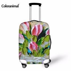 Coloranimal Туристические товары масла с цветочным принтом protetive упругие толстые Чемодан чехол для багажник случае применяются к 18-30 дюймов