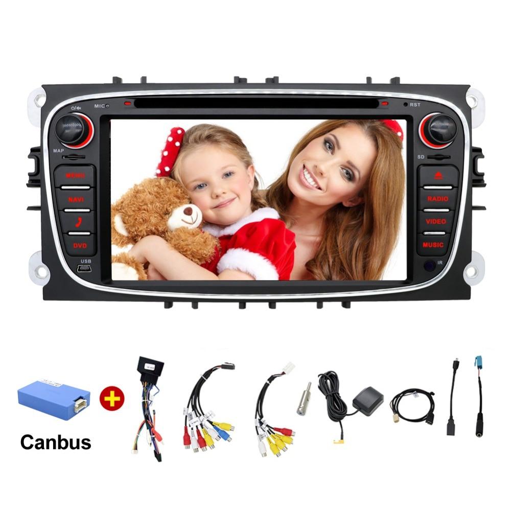2 din Android 7.1 Quad Core Lecteur DVD de Voiture GPS Navi pour Ford Focus Mondeo Galaxy avec Audio Radio Stéréo tête Unité