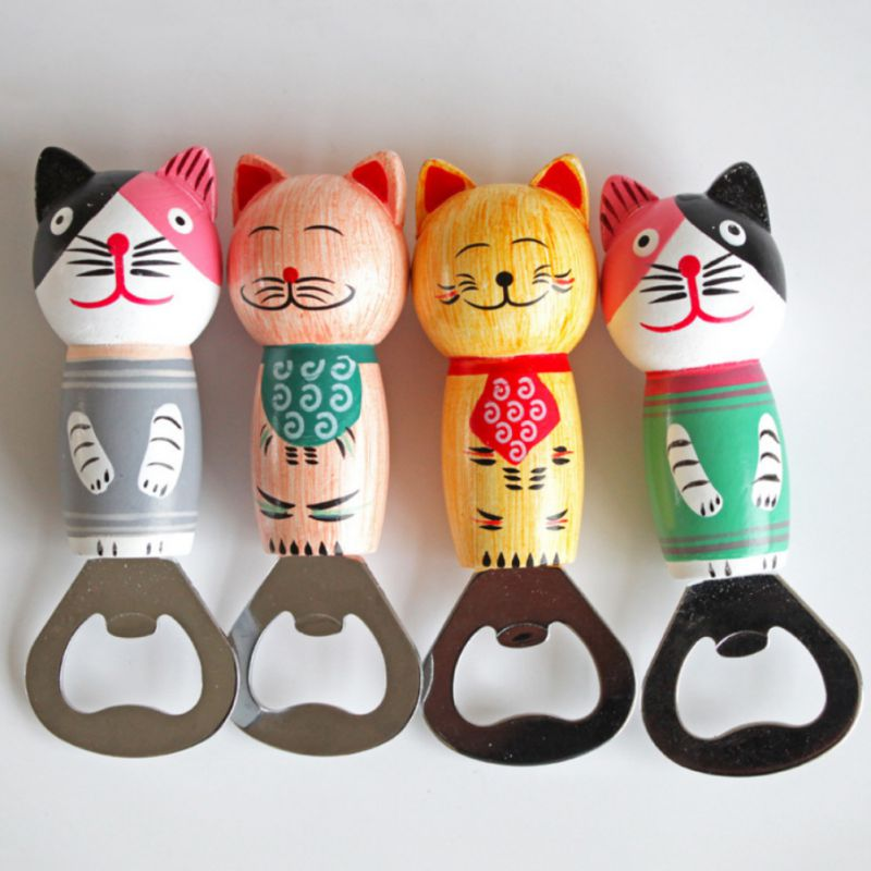 Cute Cartoon Wooden Cat Beer Bottle Opener Stainless Steel Portable Fridge Magnetic Can Bottle Openers Kitchen Bar Tools