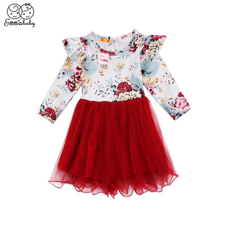 Toddler Lovely Newborn Baby Girls Dress Floral Printed Long Sleeve Bowknot Flutter Tulle Lace Dress Tutu Clothes Dresses комплект аксессуаров для волос lovely floral