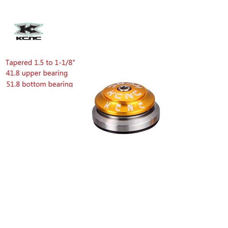 KCNC bicycle heasets parts taper 1.5 1-1/8 KHS PT1860 taper integral gold OS41.8mm 51.8mm bearings lightweight 92g велосипед khs syntaur girl 2016