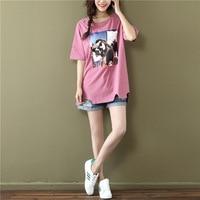 2017 yaz yeni gelenler kadın gençlik moda tee üstleri artı boyutu gevşek baskı uzun desen pamuk delik kısa kollu T gömlek kadın