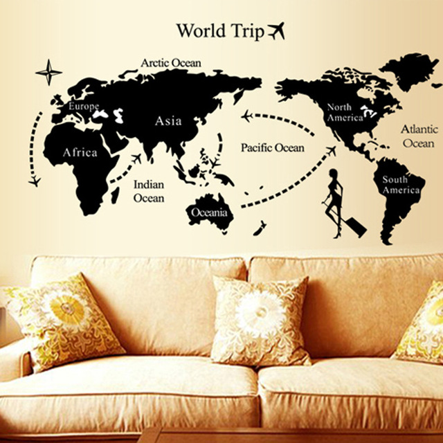 Removable modern diy world map wall sticker creative abstract home removable modern diy world map wall sticker creative abstract home decor decals for living room tv gumiabroncs Gallery