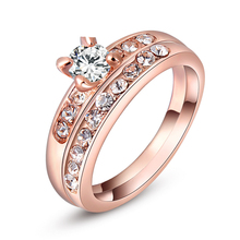 Romad Rose Gold Color Double Ring Fashion Ring Set Austrian Crystal Rings for Women  Zircon Ring Wedding Band Jewelry Z4 romad rose gold color double ring fashion ring set austrian crystal rings for women zircon ring wedding band jewelry z4