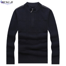 100% pure woolen sweater, male semi-high zipper collar and heavy sweater, autumn/winter new casual thermal sweater, high quality