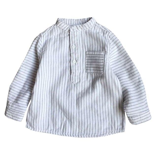 2016 Весной 100% Хлопок Классический Полосатый Блузка Пышными рукавами Мальчики Девочки Рубашки Новорожденных Детей Топы Детской Одежды 3 М-24 М