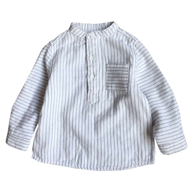 2016 Spring 100% Cotton Classic Striped Baby Blouse Full Sleeves Boys Girls Shirts Newborn Kids Tops Infant Clothing 3M-24M