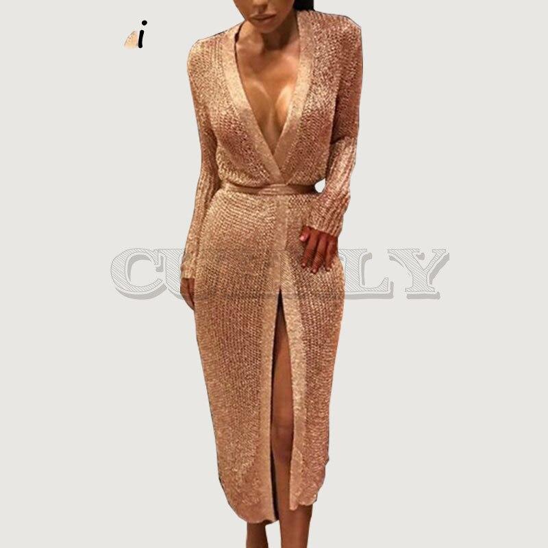 Robe cardigan en tricot rose or brillant sexy pour femmes robe de soirée midi col en v profond 2019 bodcyon robe en tricot L5