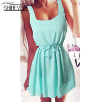 SHIBEVER Summer Women Beach Casual Chiffon Dresses Off The Shoulder Party Mini Sexy Dress Plus Size
