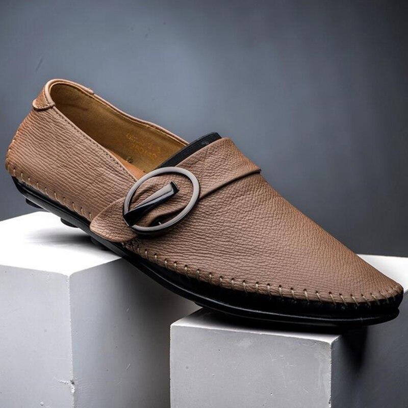 Concepteur red Pour Black Cuir Main Nouvelle Véritable De Hommes Mocassins Chaussures Casual Chaussures Marque brown Appartements 100 Conduite Mode En a7nwSHq