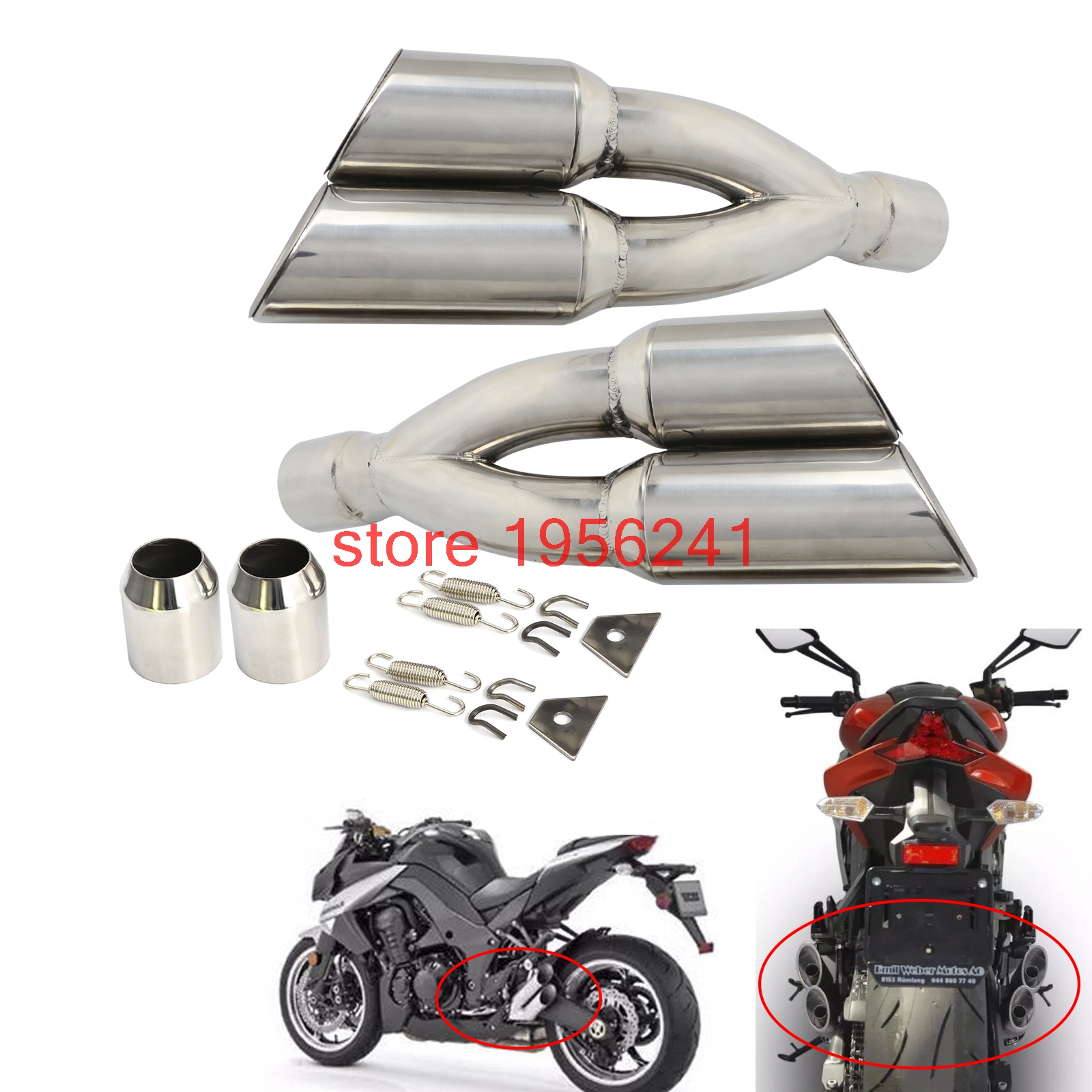 38-51MM Slip-On Universal Dual Exhaust Muffler Vent Pipe Slip On Motorcycle Dirt Bike Street Bike Scooter ATV Quad And More universal motorcycle chain tensioner bolt on roller chopper atv dirt street bike for suzuki rg 125 vespa 150 vba t4 180ss all ye