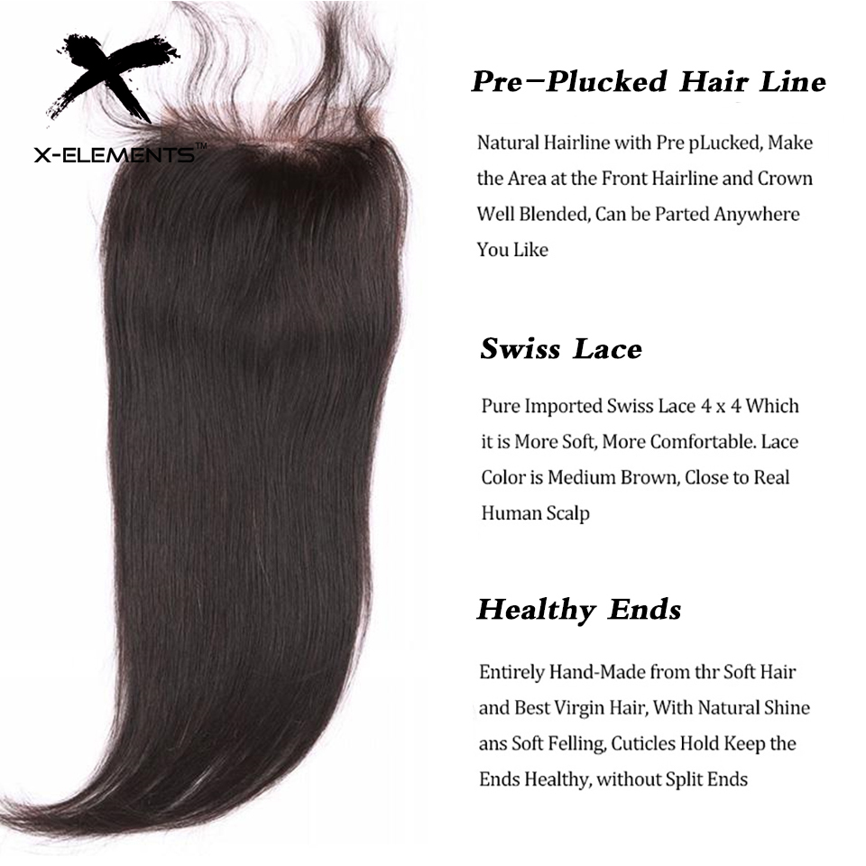 X-Elements Hair 4 * 4 Closure 1 Piece Extensions Peruvian Mänska - Mänskligt hår (svart) - Foto 5