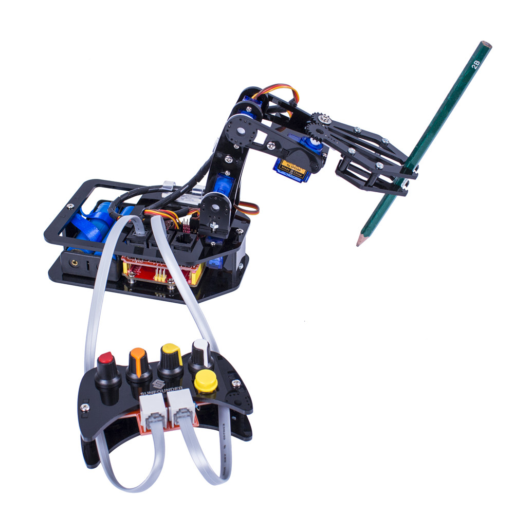 SunFounder DIY Acrylic Robotic Arm Kit Assembling 4-Axis Servo Control Robot Arm Toy for Arduino Uno R3 with manual arduino plotclock robot kit drawing program acrylic arm