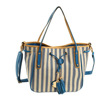 2016 new Korean wild look good striped canvas shoulder bag fringed shoulder strap shoulder bag handbag ladies bag