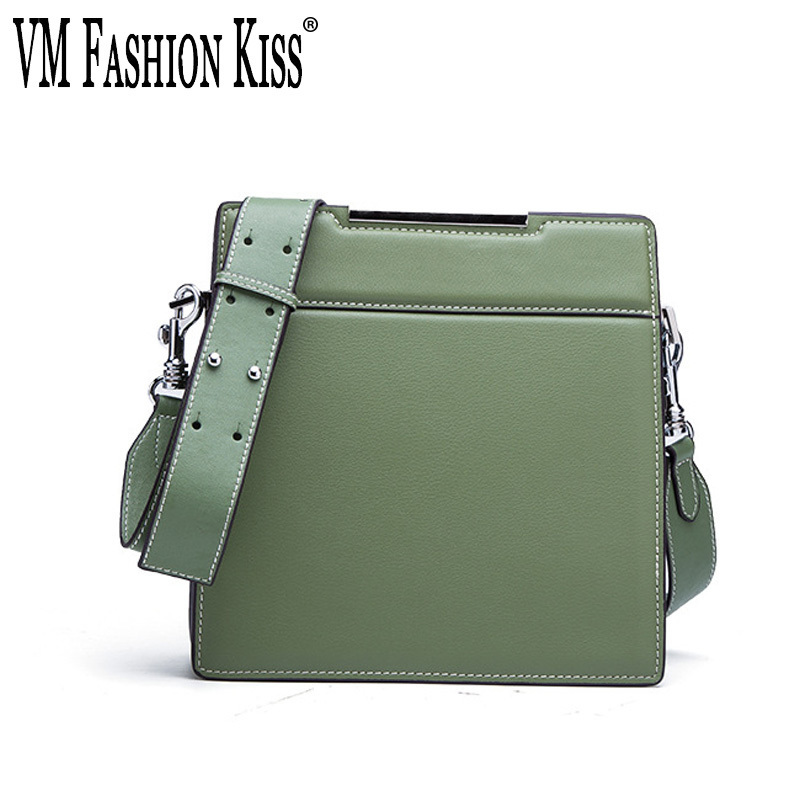 VM FASHION KISS 2018 NEW Split Leather Ms. Fashion Small Flap Bag Women's Shoulder Bag Female Crossbody Bag Wide Shoulder Straps цена