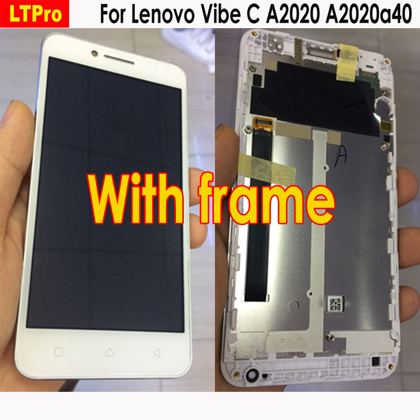 LTPro LCD Display Touch Screen Digitizer Assembly + Frame For Lenovo Vibe C A2020 A2020a40 Mobile Phone Replacement Parts