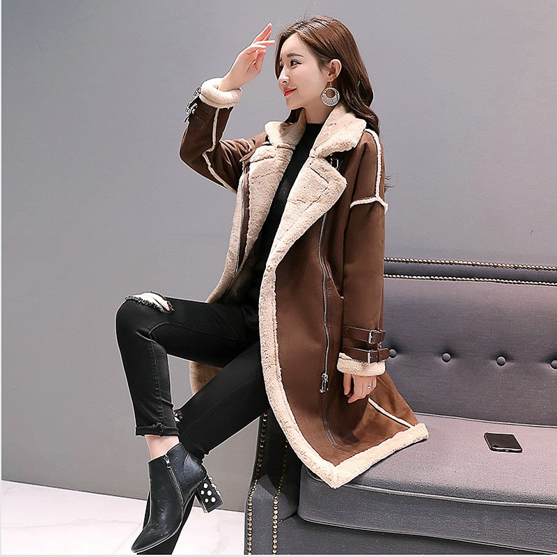 D'hiver Coréen black Femmes Pardessus Colour Agneaux Long Caramel Peau Tops Vêtements Veste Moyen Chaud Coton Femme Lâche Daim De 2018 Manteau Laine Casual ZzqYpzxB