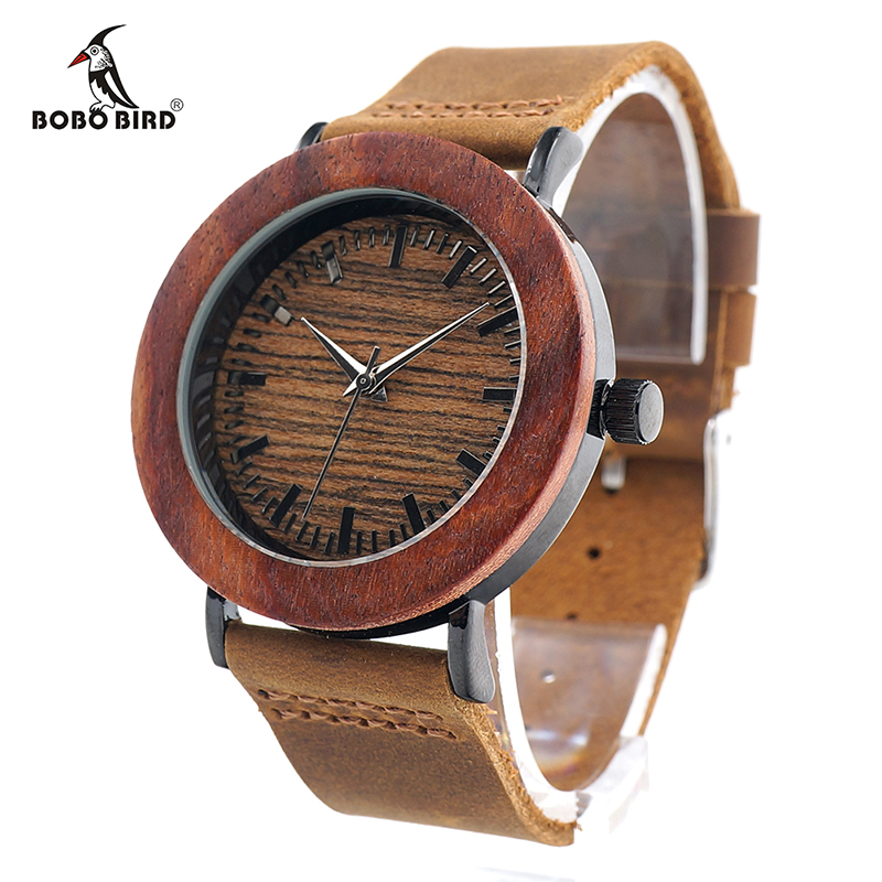 BOBO BIRD K20 Ebony Wooden and Steel Watch Retro Black Dial Face Brown Soft Leather Band