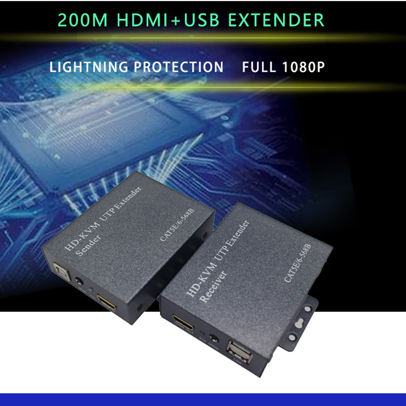 1080p 200m HDMI KVM UTP  Extender  With USB Port For DVR/HDTV HDMI USB KVM Extender Over Cat5 Cat6