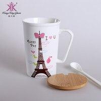 320ml New Arrival Romantic Eiffel Tower Ceramic Mug With lid spoon Creative Office Coffee Bone China Mug Free Shipping