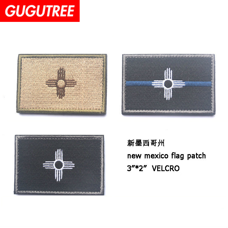 GUGUTREE embroidery HOOK&LOOP New Mexico flag Patch state flag patches badges applique patches for clothing AD-400