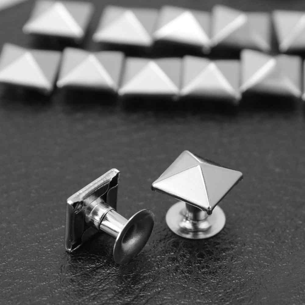 100x Punk Rock Pyramid Rivet Studs Belt Bag Shoe Decoration Craft DIY 9*9mm Clothes Sewing Jewelry Bracelet Accessories Set Nail