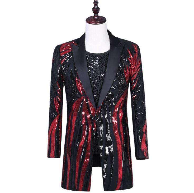 Red Sequins Blazer Men Suits Designs Jacket Mens Stage Costumes Singers Clothes Dance Star Style Dress Punk Rock Masculino Homme