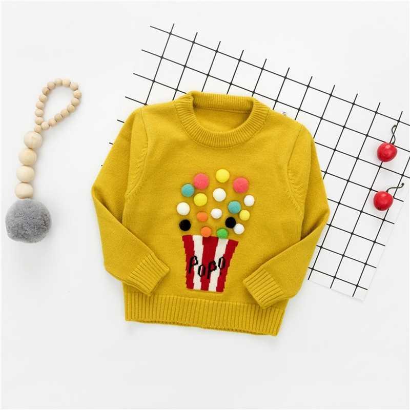 a2ac8de8327fb1 ... Autumn Baby Girls Long Sleeve O Neck Popcorn Knitwear Winter Embroidery  Warm Sweater Pullover Jumper Kids