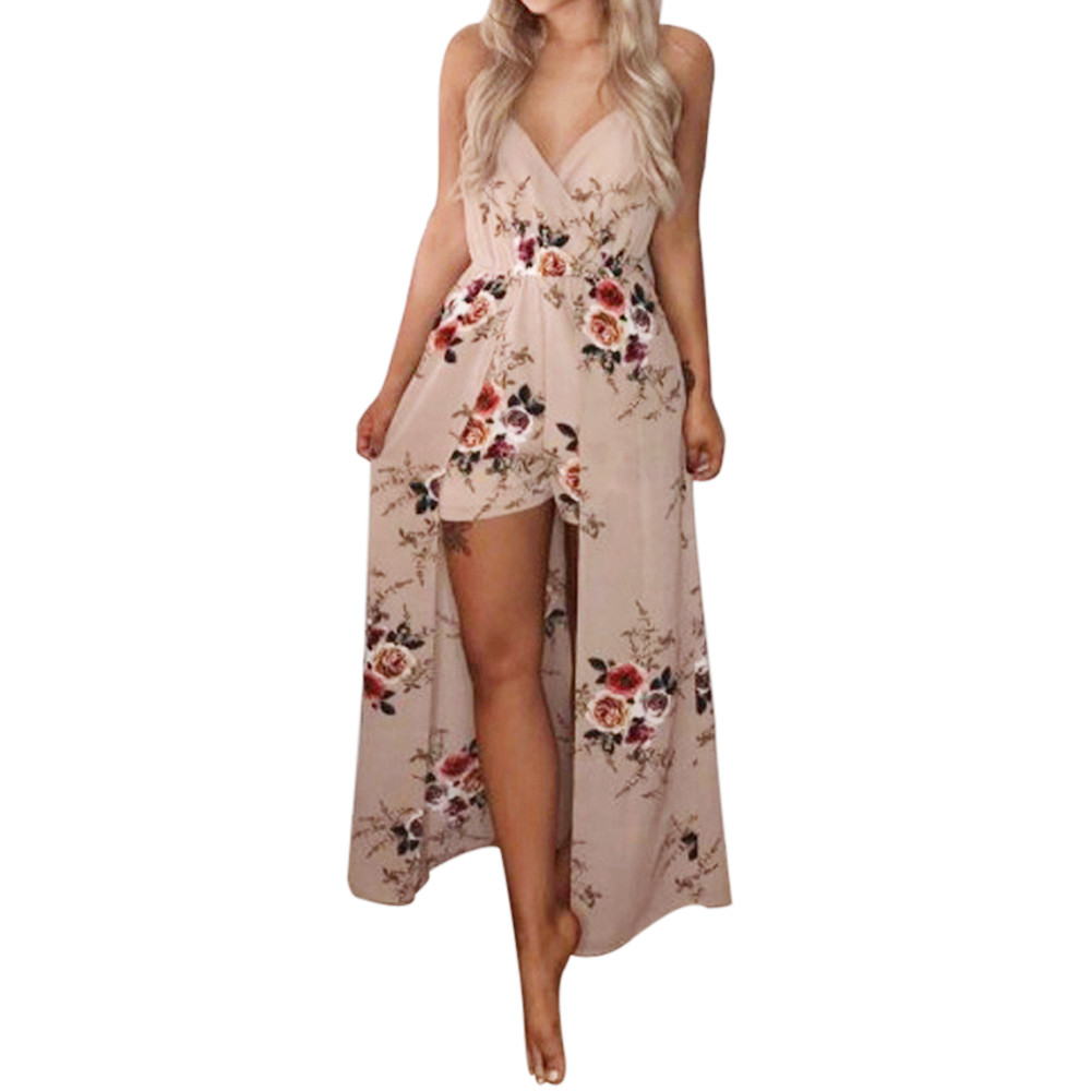 Free Ostrich Elegant Sexy Women Summer Sleeveless Flower Playsuit Beach Trousers ,  jumpsuit   women short playsuit women D1335