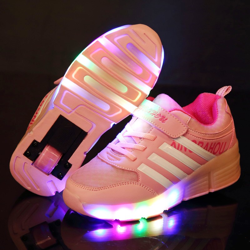 Kids Glowing Sneakers Sneakers With Wheels Led Light Up Roller Skates Sport Luminous Lighted Shoes For Kids Boys Pink Red Heely