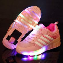 Kids Glowing Sneakers Sneakers with wheels Led Light up Roller Skates Sport Luminous Lighted Shoes for Kids Boys Pink Red heely(China)