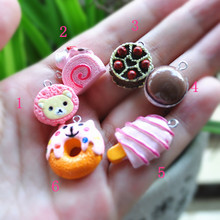 DIY icecream charms keyring charms resin charms necklace strawberry pendant  for DIY decoration 24pcs