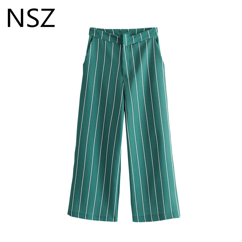 NSZ Women Striped   Wide     Leg     Pant   High Waist Pocket Zipper Office Lady   Pant   Straight Trousers