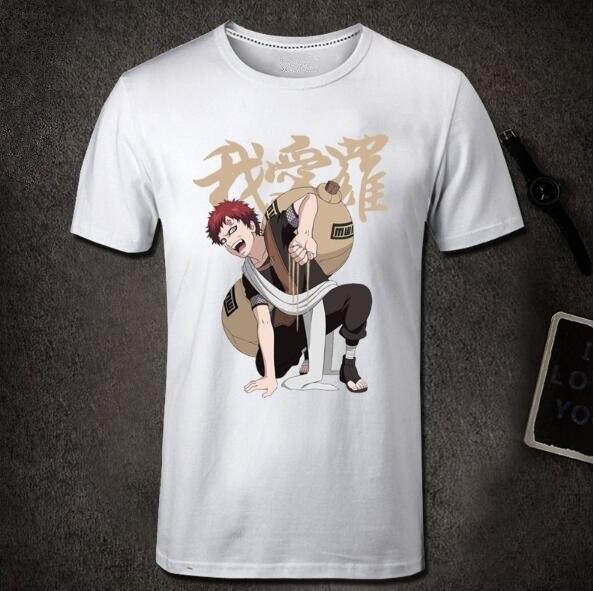 Anime Naruto Gaara T-Shirt Men 100% Cotton Mens Tee Shirt Short Sleeve Anime Tshirt