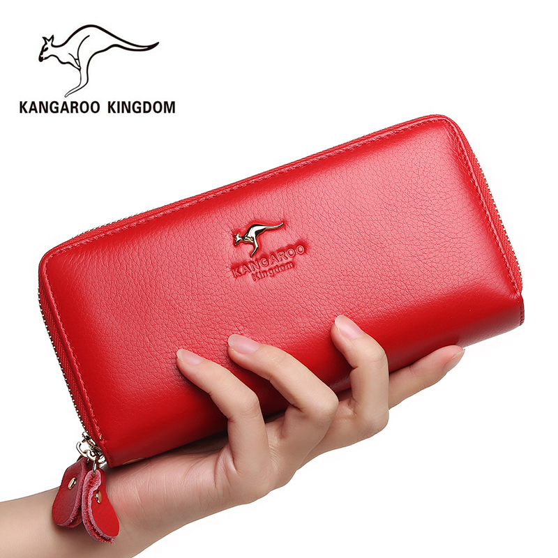 Kangaroo Kingdom Women Wallets Genuine Leather Long Purse Women Clutch Bags Brand Female Wallet app blog brand custom made unique personality women s purse 2017 newest long fashion phone bags clutch leather wallet as gift