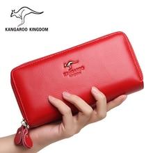 Фотография Kangaroo Kingdom Women Wallets Genuine Leather Long Purse Women Clutch Bags Brand Female Wallet