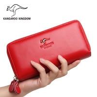 Kangaroo Kingdom Women Wallets Genuine Leather Long Purse Women Clutch Bags Brand Female Wallet