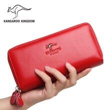 Kanguru krallık kadın cüzdan hakiki deri uzun çanta kadın el çantası marka kadın cüzdan