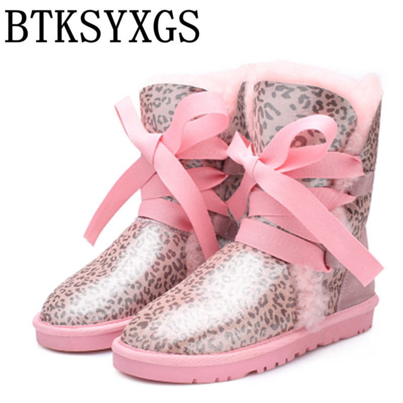 BTKSYXGS 2017 sheepskin fur wool one Women's snow boots 100% genuine leather Female boots Woman winter flats Ladies cotton shoes