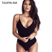 TAUPIN AM Black Bodysuit Women Jumpsuit Sexy Rompers Spaghetti Strap Body Suit Sleeveless Spandex Bodysuit Combinaison
