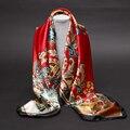 Mulheres lenço de seda estilo chinês nova pintura a óleo lenços de cetim high-grade marca designer longo lenço de seda das mulheres 90*90-b137