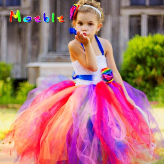 Flor del color del arco iris brillante Niñas verano de los niños del ...