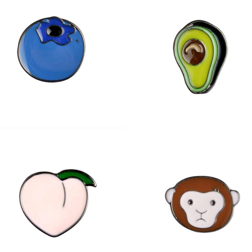 1 Pza Kawaii aguacate mono melocotón arándano Metal solapa alfileres esmalte duro insignia lindo regalo joyería de moda Animal de dibujos animados planta