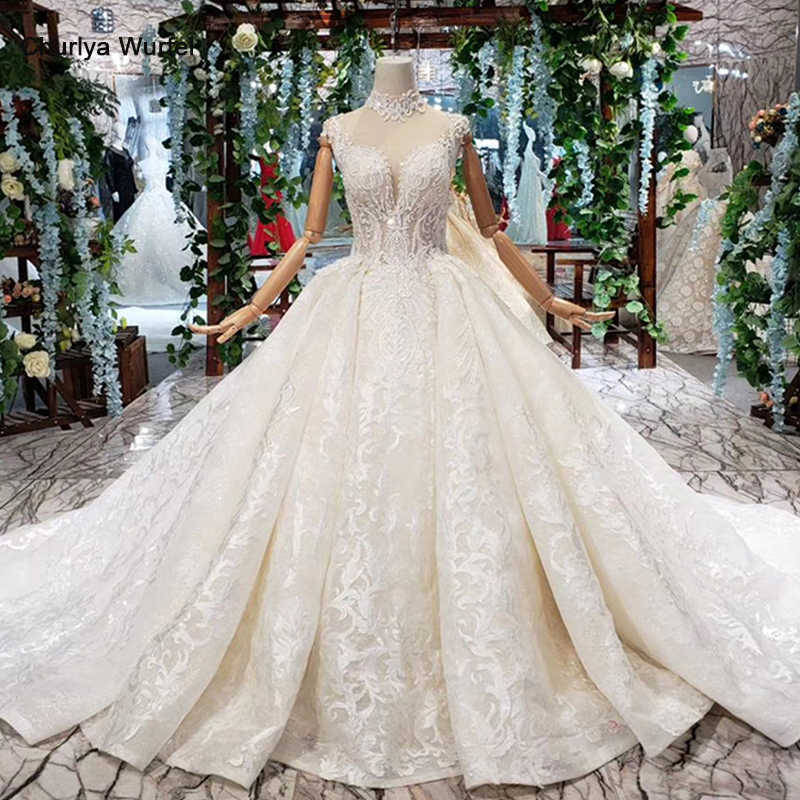 HTL371 Ball gown Wedding Dresses 2019 high-neck appliques sleeveless high neck bridal wedding gown long train vestido de noiva