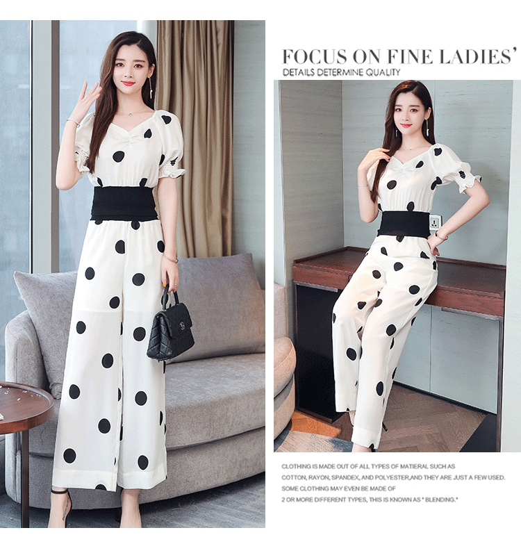 Summer Dot Print Two Piece Sets Outfits Women Plus V-neck Short Tunics Tops And Wide Leg Pants Suits Elegant Ladies 2 Piece Sets 39