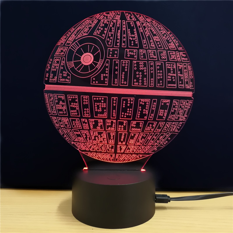 3d Led Death Star Shape Night Light Usb Table Lamp Kids